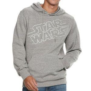 New! Star Wars Logo Gray Fleece Hoodie Sweatshirt
